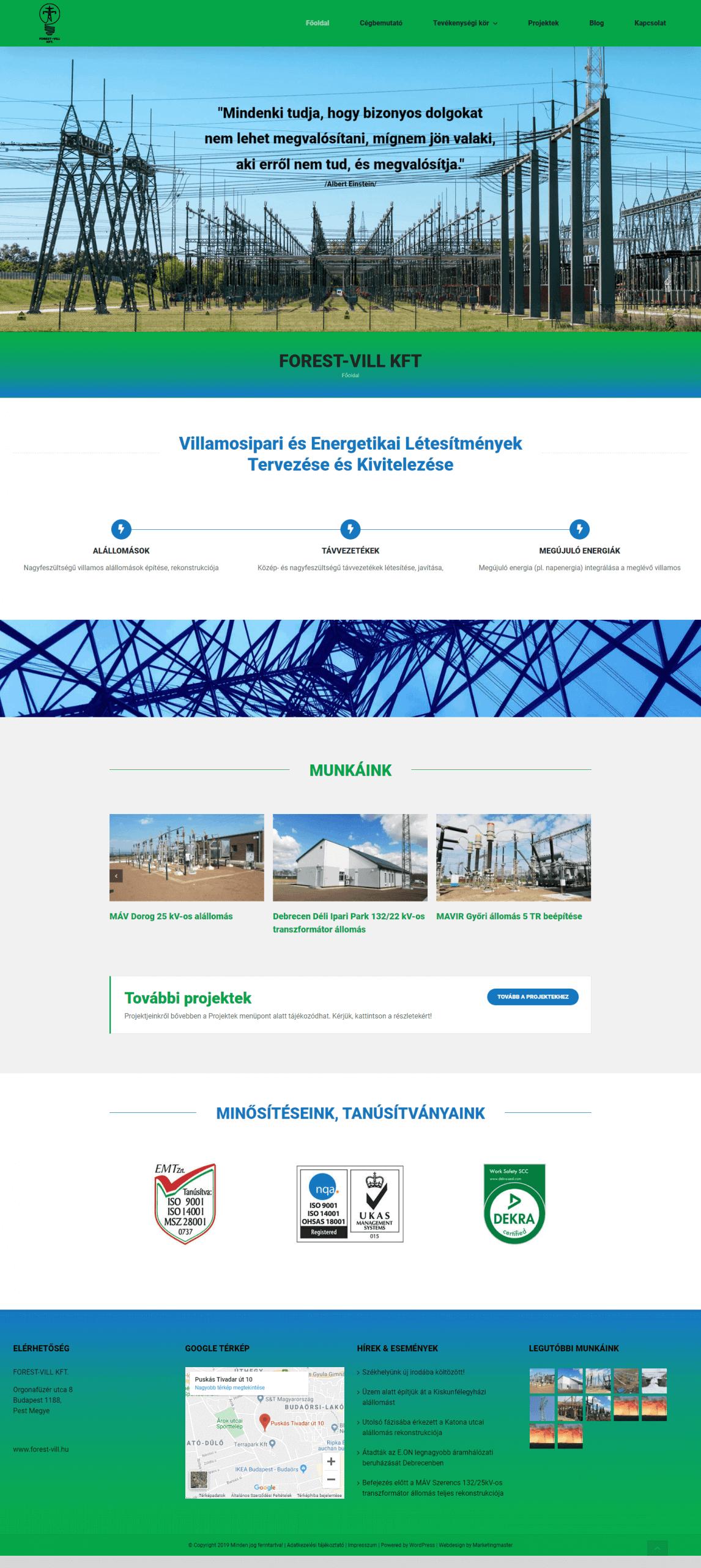 Weblap képernyőkép - forest-vill.hu